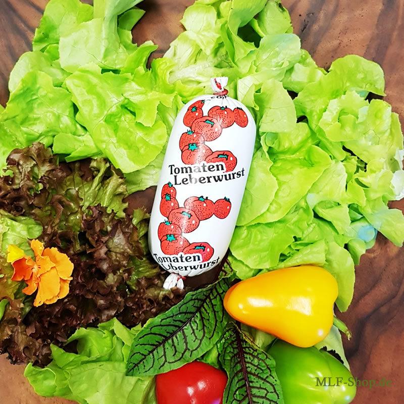 Feingekutterte Leberwurst mit Tomatenmark